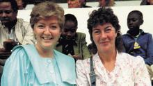 Pictured: RTÉ broadcaster Marian Finucane and Nuala O'Faolain in Nairobi, Kenya where they were covering the 1985 United Nations Decade for Women Conference for RTÉ.