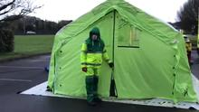Clinic: Video grabs of a walkthrough of a Covid-19 'pop-up' testing centre in the midlands