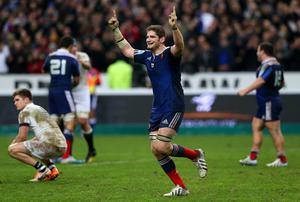 Pascal Pape of France celebrates victory during the RBS Six Nations match between France and England
