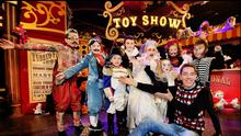 Stars: Ryan Tubridy on the set of 'The Late Late Toy Show' last year with Tattoo Man Dylan O'Connor (11), Napoleon Luke O'Connor (7), three-legged Man Kayla McMahon (10), Pierrot Clown Enya Allen (5), Fatman Matthew Little (12), bearded lady Alannah Willoughby (12), Wolfman Colm Sullivan (8), and Albino Ella Maher (10). photo: steve humphreys
