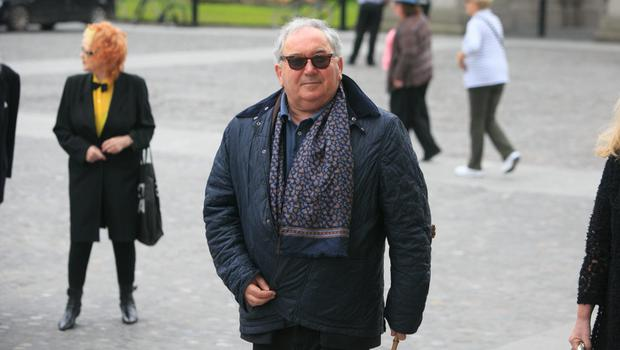 11/06/2015 Harry Crosbie during the Humanist Funeral Service for Paolo Tullio at The Exam Hall in Trinity College, Dublin. Photo: Gareth Chaney Collins