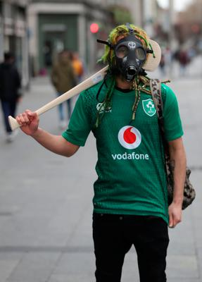 A tourists near O'Connell Street in Dublin, on St Patrick's day. PA Photo. Picture date: Tuesday March 17, 2020. See PA story  Niall Carson/PA Wire