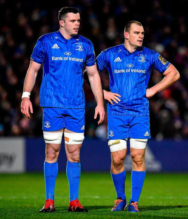 4 January 2020; James Ryan, left, and Rhys Ruddock of Leinster during the Guinness PRO14 Round 10 match between Leinster and Connacht at the RDS Arena in Dublin. Photo by Seb Daly/Sportsfile