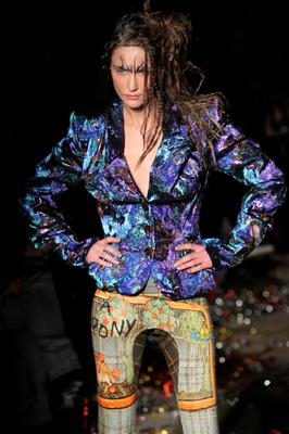 A model wears a creation for Vivienne Westwood's ready-to-wear Fall-winter 2015-2016 fashion collection during the Paris Fashion Week, Saturday March 7, 2015 in Paris. (AP Photo/Francois Mori)