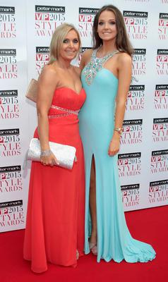 Karen and Emma McEvoy on the Red Carpet at The Peter Mark VIP Style Awards 2015 at The Marker Hotel,Dublin. Pictures Brian McEvoy