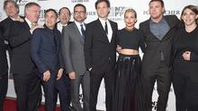 "NEW YORK, NY - OCTOBER 10:  (L-R) Tom Bernard, Anthony Michael Hall, Mark Ruffalo, Michael Barker, Steve Carell, Bennett Miller, Sienna Miller, Channing Tatum and Megan Ellison attend the ""Foxcatcher"" premiere during the 52nd New York Film Festival at Alice Tully Hall on October 10, 2014 in New York City.  (Photo by Gary Gershoff/WireImage)"