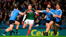 Andy Moran of Mayo in action against Dublin players, from left, Darren Daly, Brian Fenton and Michael Fitzsimons