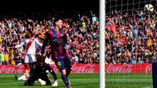Lionel Messi celebrates after scoring his second goal against Rayo Vallecano