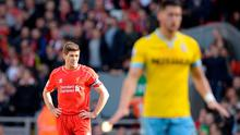 Liverpool captain Steven Gerrard reacts after Crystal Palace scored at Anfield