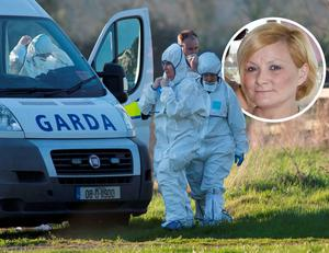 State Pathologist Marie Cassidy at the scene where the body of Anne Shortall, inset, was found