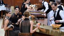 PARIS, FRANCE - MARCH 10:  Cara Delevingne and Kendall Jenner seen during the Chanel show as part of the Paris Fashion Week Womenswear Fall/Winter 2015/2016 on March 10, 2015 in Paris, France.  (Photo by Pascal Le Segretain/Getty Images)