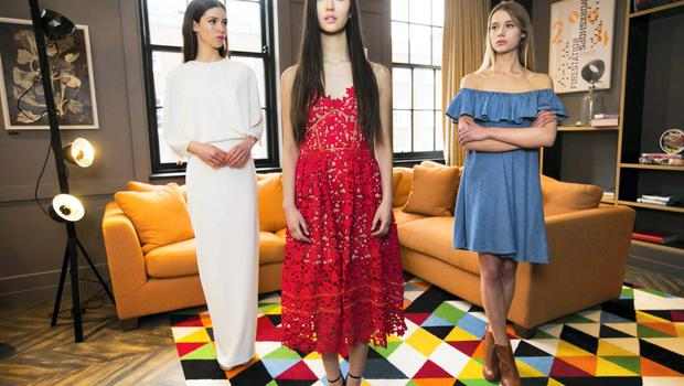 Pictured at the BT2 press day at the Dean Hotel were (L-R) models: Louise wearing AQ/AQ white maxi dress,€215; Li Ann wearing a Self Portrait red lace dress, €305; and Rasma wearing Alexa Chung for AG denim dress, €245. Pic: Leon Farrell / Photocall Ireland