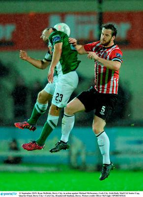 11 September 2015; Ryan McBride, Derry City, in action against Michael McSweeney, Cork City. Irish Daily Mail FAI Senior Cup, Quarter-Final, Derry City v Cork City, Brandywell Stadium, Derry. Picture credit: Oliver McVeigh / SPORTSFILE