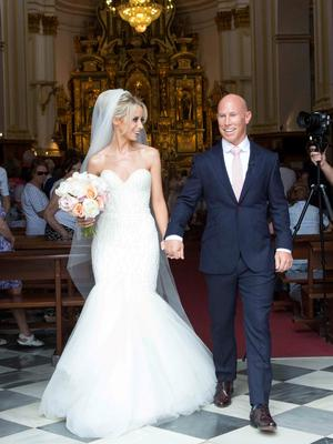 **ALL ROUND EXCLUSIVE PICTURES FROM SOLARPIX.COM** **WORLDWIDE SYNDICATION RIGHTS**                                                                                   Pics show the wedding of Irish rugby union player Peter Stringer and Deborah O'Leary. Peter, who plays at scrum-half for Sale and Ireland, married his sweetheart today at 1pm at Nuestra Senora de la Encarnacion at the Plaza de la Iglesia, in the old town of Marbella. This pic:  Peter Stringer and Deborah O'Leary leaving the church after the ceremony JOB REF: 09.06.15  AB1  DATE: 09.06.15 **MUST CREDIT SOLARPIX.COM OR DOUBLE FEE WILL BE CHARGED** **MUST AGREE FEE BEFORE ONLINE USAGE** **CALL US ON: +34 952 811 768 or LOW RATE FROM UK 0844 617 7637**