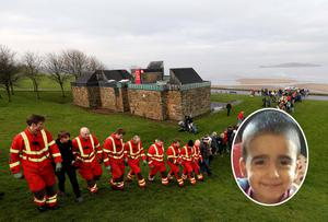 Members of the public and professional services take part in the search after 3-year-old Mikaeel Kular (inset) went missing