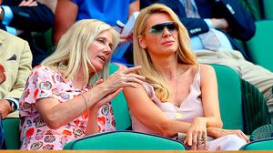 Tess Daly (right) and Joely Richardson in the royal box on centre court on day two of the Wimbledon Championships at the All England Lawn Tennis and Croquet Club, Wimbledon