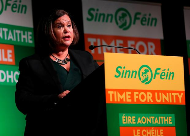 Sinn Fein leader Mary Lou McDonald speaking at the party's general election candidate launch in Dublin.  Niall Carson/PA Wire