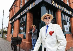 Bloomsday 2020.  Tom Fitzgerald and musician Luke Cosgrave outside his pub in Glasthuile village  Picture; Gerry Mooney
