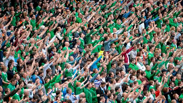 7 June 2015; Republic of Ireland supporters chant for their team during the game. Three International Friendly, Republic of Ireland v England. Aviva Stadium, Lansdowne Road, Dublin. Picture credit: Cody Glenn / SPORTSFILE