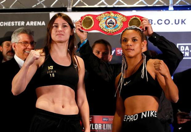 Boxing - Manchester - November 1, 2019. Katie Taylor and Christina Linardatou pose for a photo during the weigh-in. Action Images via Reuters/Jason Cairnduff