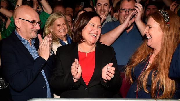 People power: Sinn Féin leader Mary Lou McDonald celebrates with her supporters after being elected at the RDS Count centre on Sunday. Photo: Charles McQuillan/Getty Images