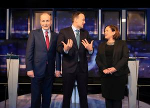 TWO OUT OF THREE AIN'T BAD: Fianna Fail's Micheal Martin, Fine Gael's Leo Varadkar and Sinn Fein's Mary Lou McDonald. Photo: Frank McGrath