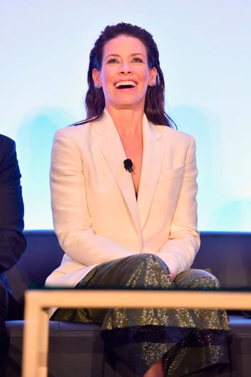 """Evangeline Lilly speaks onstage at Marvel Studios' """"Ant-Man And The Wasp"""" Global Junket Press Conference on June 24, 2018 in Los Angeles, United States.  (Photo by Alberto E. Rodriguez/Getty Images for Disney)"""