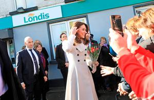 Department of Foreign Affairs and the British Embassy handout photo of the Duchess of Cambridge after visiting a Londis supermarket in  Prosperous, Co Kildare, during her three day visit to the Republic of Ireland. PA Photo. Issue date: Wednesday March 4, 2020. See PA story ROYAL Cambridge. Photo credit should read: Julien Behal Photography/PA Wire