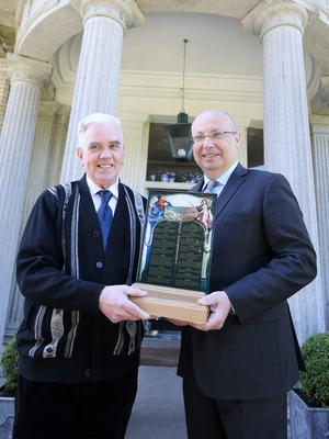 French Ambassador to Ireland Jean Pierre Thebault presents Fr Peter Mcverry with the French Human Rights Prize at the french embassy. Picture credit; Damien Eagers 23/6/2015