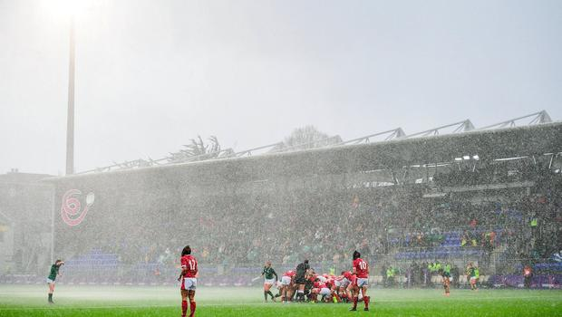 A general view as Ireland and Wales players prepare to scrum during the Women's Six Nations Rugby Championship match between Ireland and Wales at Energia Park in Dublin. Photo: Ramsey Cardy/Sportsfile