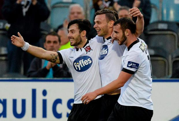 Andy Boyle, Dundalk, centre, celebrates with team-mates Richie Towell, left, and Kurtis Byrne after scoring his side's first goal of the night. SSE Airtricity League Premier Division, Dundalk v Bohemians, Oriel Park, Dundalk, Co. Louth. Picture credit: Oliver McVeigh / SPORTSFILE