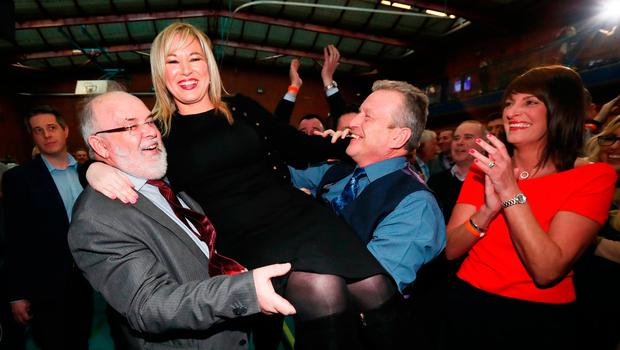Michelle O'Neill, leader of Sinn Fein in Northern Ireland, celebrates winning her seat at the Seven Towers Leisure Centre, Ballymena, in Northern Ireland's Assembly election. Photo: Niall Carson/PA Wire
