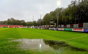8 May 2015; General view of the waterlogged pitch at Richmond Park where the game was called off. SSE Airtricity League Premier Division, St Patrick's Athletic v Shamrock Rovers, Richmond Park, Dublin. Picture credit: David Maher / SPORTSFILE