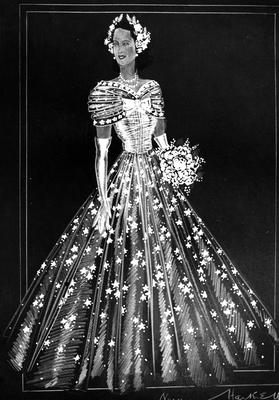 November 1947:  A Norman Hartnell sketch of one of the dresses to be worn by the bridesmaids at the wedding of Princess Elizabeth. It is a diaphanous gown of ivory silk tulle, inspired by the pictures of Winterhalter, Tuxen and Sir George Hayter at Buckingham Palace.  (Photo by Central Press/Getty Images)