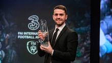 Robbie Brady, Senior International Player of the Year during the Three FAI International Soccer Awards at RTE Studios in Donnybrook, Dublin. Photo by Brendan Moran/Sportsfile