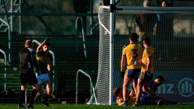 Paul Geaney of Kerry celebrates after scoring his side's goal during the Allianz Football League Division 1 Round 4 match between Roscommon and Kerry at Dr Hyde Park in Roscommon. Photo by Stephen McCarthy/Sportsfile