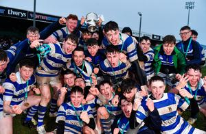 Garbally College players celebrate with the Senior Cup after the Top Oil Connacht Schools Senior A Cup Final match against Sligo Grammar at The Sportsground in Galway. Photo by Matt Browne/Sportsfile
