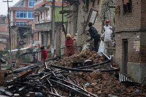 Searching goes on in Kathmandu, Nepal after the earthquake hit the region. Pic:Mark Condren