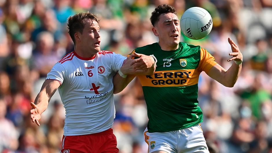 Paudie Clifford of Kerry in action against Kieran McGeary of Tyrone during the All-Ireland SFC semi-final at Croke Park in Dublin. Photo: Brendan Moran/Sportsfile