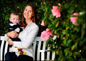 Laura Bourne at home with her six month old son Noah in Greystones. Picture: Steve Humphreys