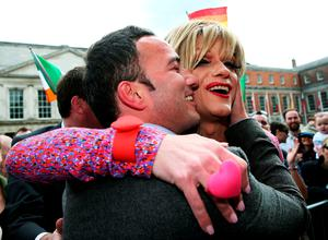 'Panti Bliss' aka Rory O'Neill with John Lyons TD at the Central Count Centre in Dublin Castle, Dublin, after Zappone proposed live on TV as votes are continued to be counted in the referendum on same-sex marriage