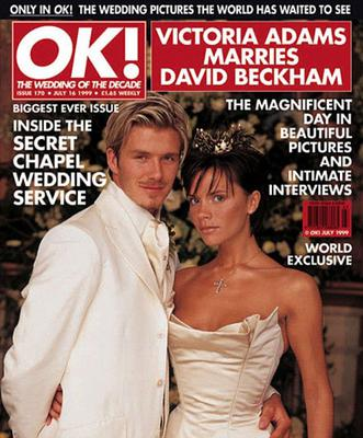 David and Victoria wed in 1999 and their photographs featured in OK! magazine