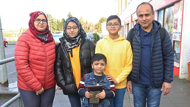 Welcome: The Abbas family – Samreen, Huda Badool, Murdaza, Kazim and Syed Haider Abbas – arrived in Ballinamore from Saudi Arabia under direct provision. Photo: Lorraine Teevan