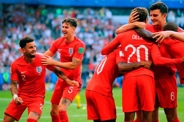 England's Dele Alli (no.20) celebrates scoring his side's second goal against Sweden yesterday. Picture: PA