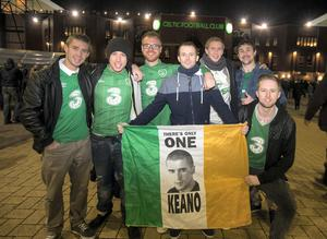 Irish fans from left, Eoin McCarthy, David O'Brien, Mark Trinder, Eric Kennedy, Eric Dilloughery, Kevin O'Connor and Shane Dorgan at the European qualifier with Scotland in Glasgow. Pic:Mark Condren 14.11.2014