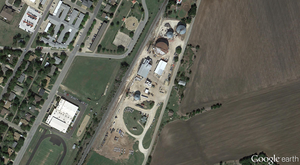 An overhead view of the West Fertilizer Co near Waco in Texas