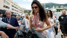 Model Kendall Jenner, center, arrives prior to the start of the Formula One Grand Prix, at the Monaco racetrack, in Monaco, Sunday, May 24, 2015. (AP Photo/Claude Paris)