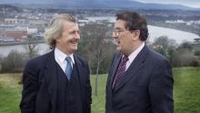AT EASE: John Hume with former Sunday Independent editor Aengus Fanning in Derry in 2001. Fanning's interview with Hume then made no reference to the tumultuous events of 1993-94. Photo: David Conachy