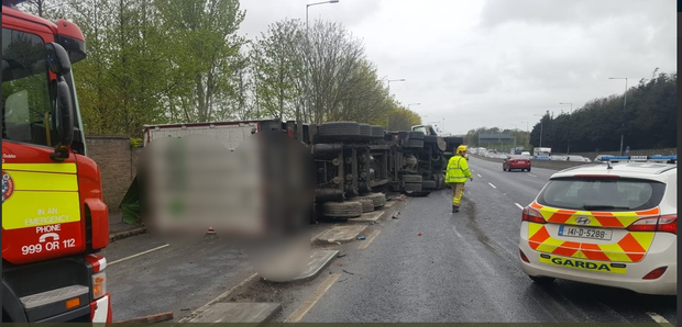The overturned truck on the N4 Photo: Dublin Fire Brigade
