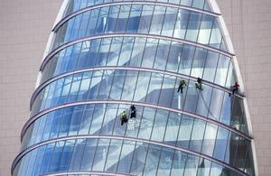 The glass being cleaned on the convention centre in Dublin this morning